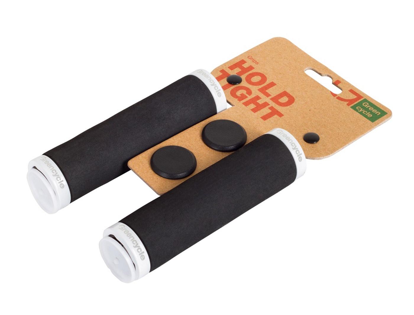 Грипсы Green Cycle GC-G222 130mm вспененная резина, черные с двумя белыми замками
