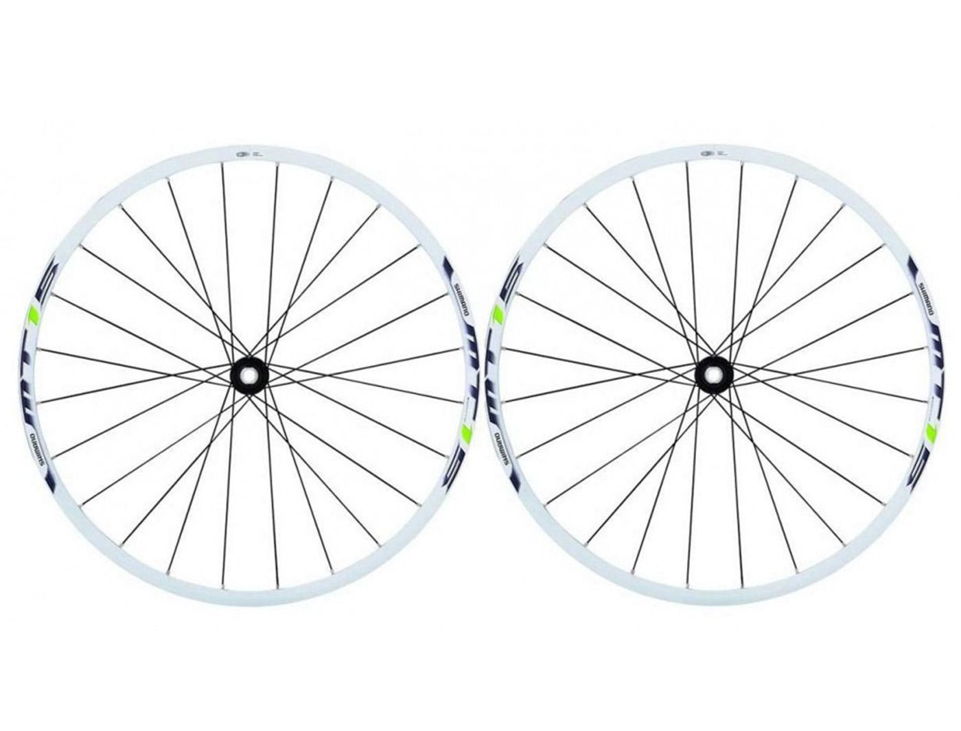 Комплект колес Shimano, MT15A, передн. и задн, 27,5', C.Lock, QR, цв. бел/зел