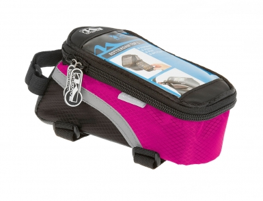 Сумочка/чехол+бокс  M-WAVE на раму д/смартфона 170х80х80мм влагозащ. черно-розовая 5-122558