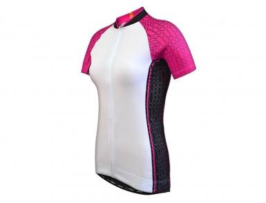 Велофутболка FunkierBike  женская WJ-784 (Бело-розовая)