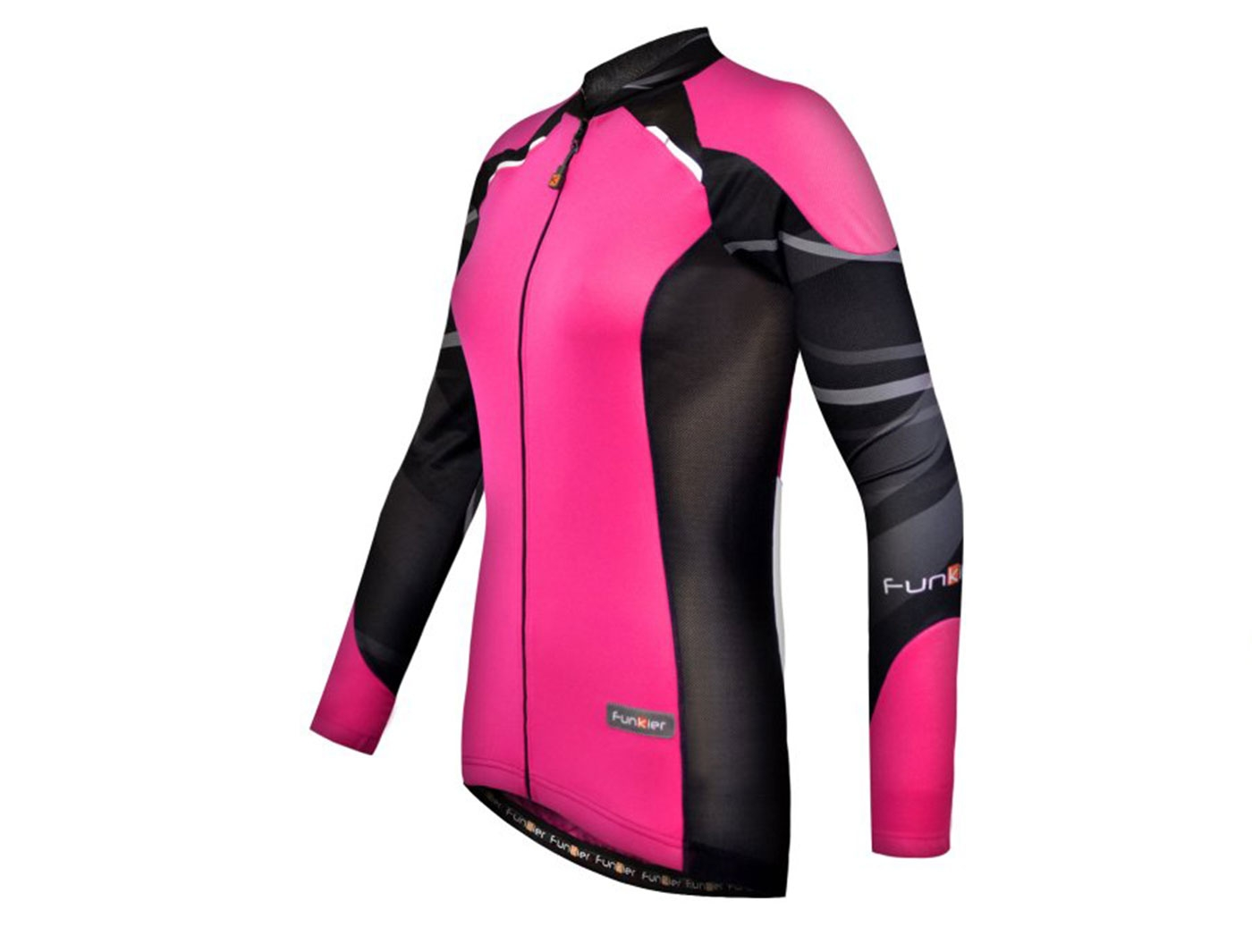 Велофутболка FunkierBike женская WJ-730-1-L Pink  с длин. рукавом  (Розово-черная)