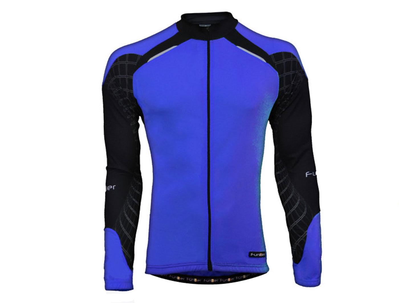 Велофутболка FunkierBike с длин. рукавом J-611-LW-Blue (Cине-черная) с молнией